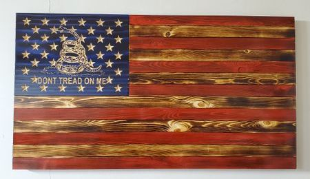 "36 "" Wooden Flag Traditional Don't Tread on me"