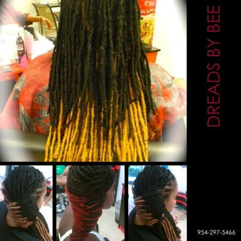 Braids by Bee is known to add color with adding hair to wrap around dreadlocks.