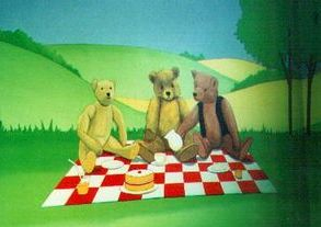 teddy picnic blanket grass sky summer tree mural hand painted