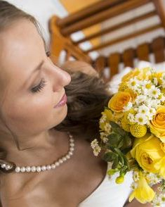 "rose, craspedia ""Billy Balls"", yellow freesia bridal bouquet"
