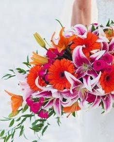star gazer lily & gerbera daisy bridal bouquet