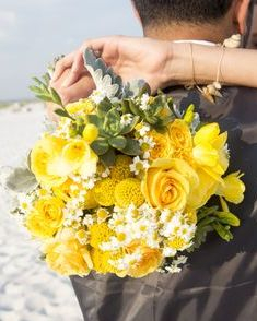 Navarre Beach Wedding, yellow rose & craspedia bridal bouquet