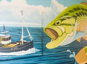 street art fishing mural trawler