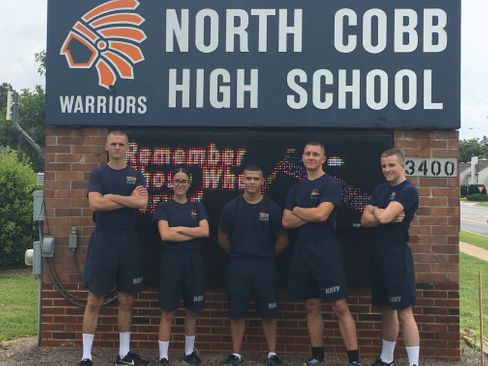 Cadets Noah Swiney, Daisy Dunlap, Ezekiel Santiago, Malachi Rock, & Isaac Hunker gather in front of North Cobb prior to leaving to Leadership Academy, Saturday 10 June 2017.