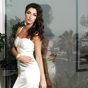 Regard Magazine featuring  Bravo TV Girlfriends Guide To Divorce Star Necar Zadegan wearing the Elena silk gown in Hollywood California