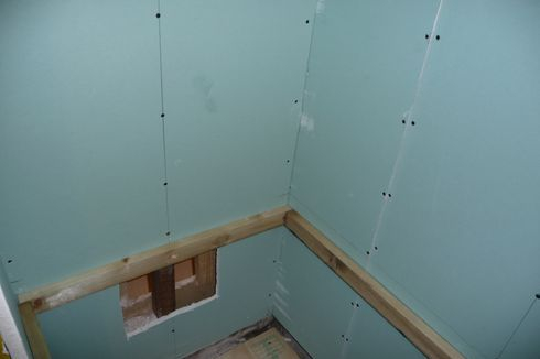 Green dry wall installed