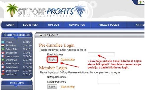 Stiforp login Slika 1