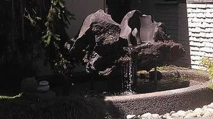 volcanic rock fountain in Woodway, Wa.