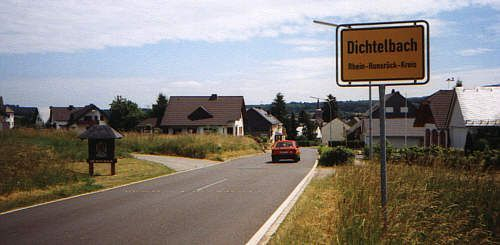 Dichtelbach located in the eastern Hunsrück, in between the A61 motorway and the Bingen Forest. The village lies on the old Roman road, known as Auson