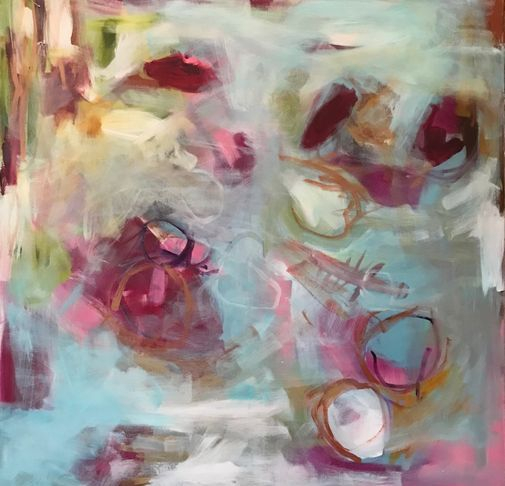 beautiful lyrical abstract, pink , blue and white square painting