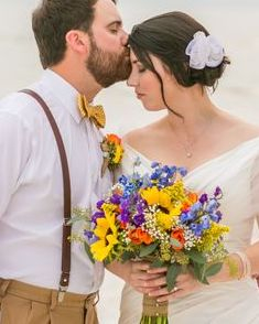 Beach wedding, rustic wildflower bridal bouquet
