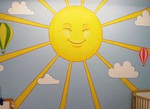 sun rays sunrays blue sky clouds sunshine yellow light mural childrens bedroom