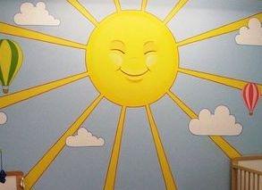 sun rays sunrays blue sky clouds sunshine yellow light mural childrens bedroom