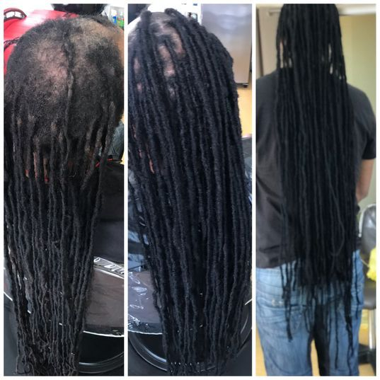 Dreadlocks are repaired a hair transformation done in Florida for a client from New York.  Client allowed Bee to cut his own long hair and transfer to the bald areas on top that was needed from wear and tear of heavy dreadlocks.