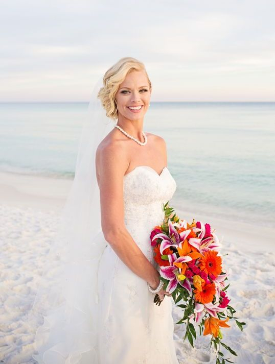 Fort Walton Beach Wedding, Bridal Bouquet with Star Gazer & Gerbera Daisies