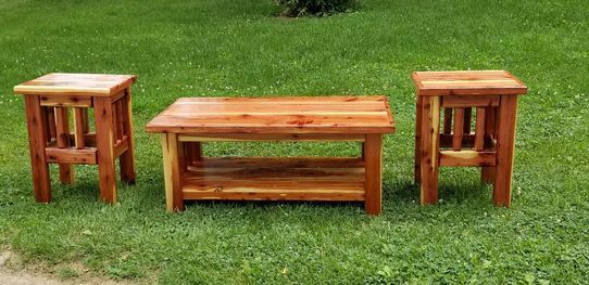 3 Pc set Red cedar Coffee & 2 end Tables , with 4 coats of hi gloss Spar urethane finish for long lasting