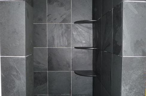 Custom made slate shower shelves