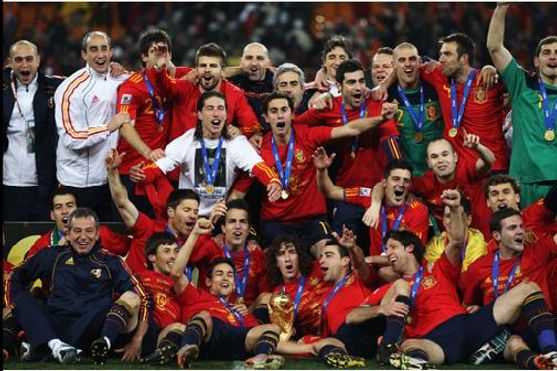 The Spain team celebrate winning the FIFA World Cup 2012.
