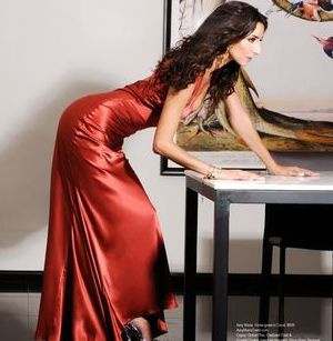 Regard Magazine featuring  Bravo TV Girlfriends Guide To Divorce Star Necar Zadegan wearing the Fiona Gown  designed by Amy Marie Goetz Fashion