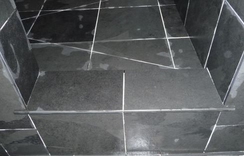 Shower curb slate, bulnosed