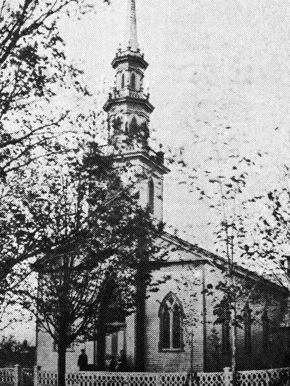 """The original """"White Church""""dedicated in 1849.  Congregation voted to become Presbyterian in 1863."""