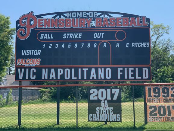 New scoreboard is up at Napolitano Field! Thanks to everyone who support us!