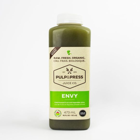 NUMBER ONE   Pulp and Press - Cold Pressed Green Juice in the Flavour Envy. Find it at: http://www.pulpandpress.com/