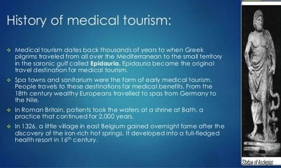 Medical Tourism first started in Greece in Antiquity
