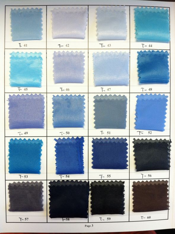 Tricot Lining Color Chart