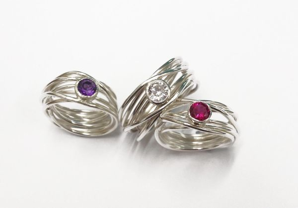 Hand made silver and precious stone wrap rings - Unique hand made jewellery