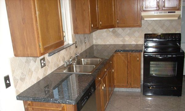 Blue pearl granite tile countertop