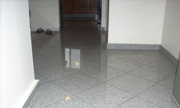 Granite tile flooring diagonal pattern