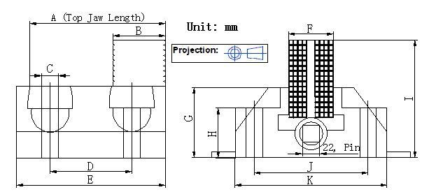Generic Vertical Boring Mill Jaw Cad Drawing for Dimensional Reference