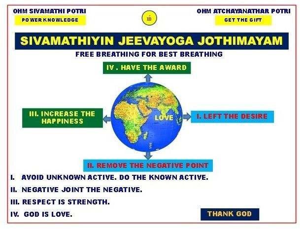 Universe love : If we activate Free Breathing through God Yoga, Sivamathiyin Jeevayogam, Desire will be Left, Negative Point will remove, Happiness will Increase, Award will be Got & can see Universe Creator.