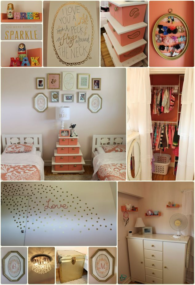 girls bedroom post makeover - coral and gold nursery