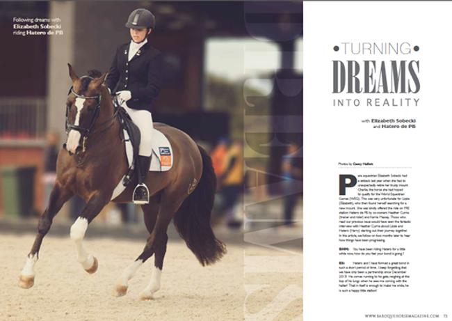 Elite Para-Equestrian dressage rider Elizabeth Sobecki Road to WEG with Baroque Horse Magazine & Equistyle Quality Stocks