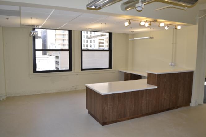 Custom reception desk.