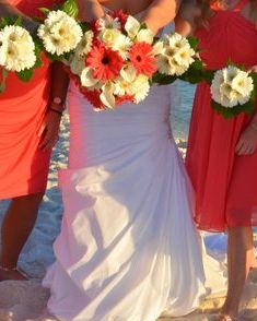 beach wedding, gerbera daisy bridesmaids bouquets