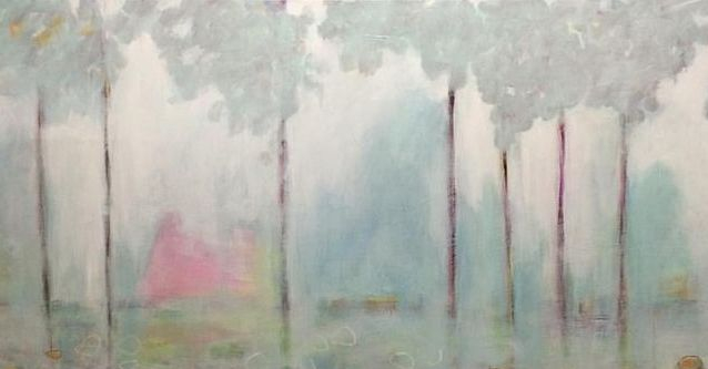 brush impressionist  abstract blue, pink and white landscape