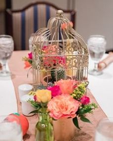 Fiesta table flowers with vibrant colors