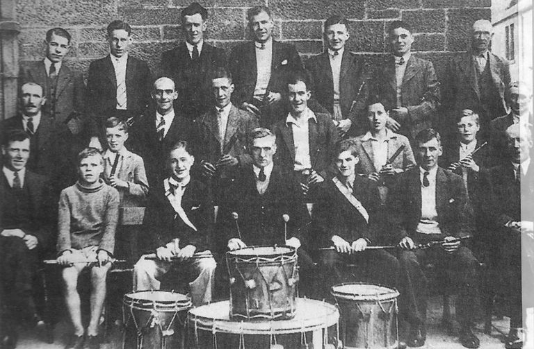 c.1940: This is believed to be one of the earliest photographs of the Carluke Primrose Flute Band from 1940. This was printed in the Carluke Gazette in September 1998.