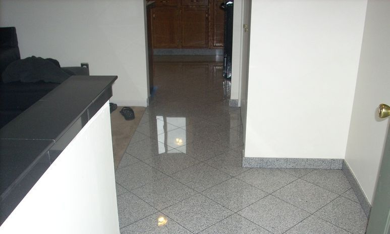 Granite floor, bullnose ledge