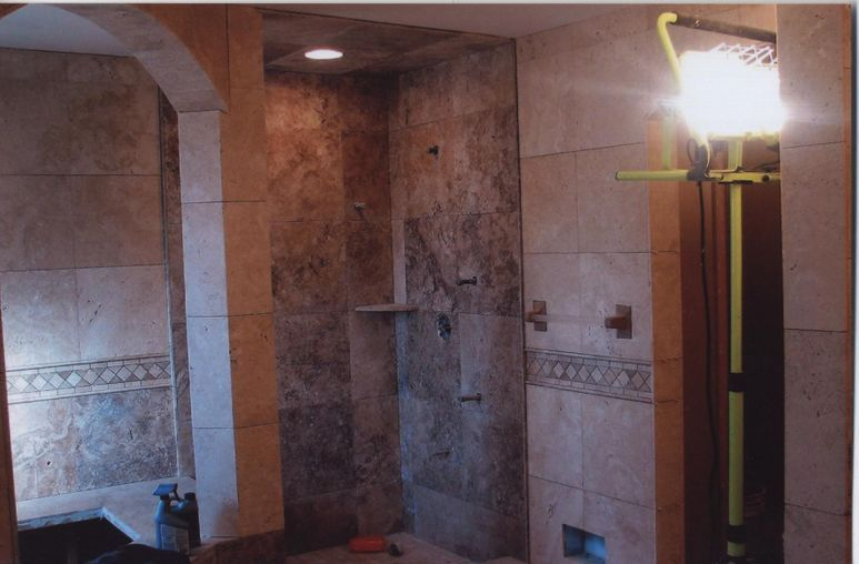 Travertine bathroom tiling