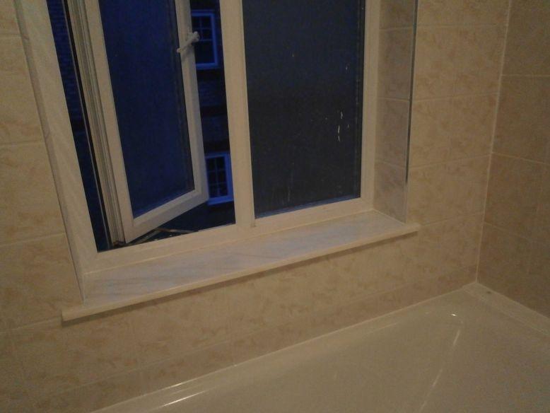 water damaged bathroom wall