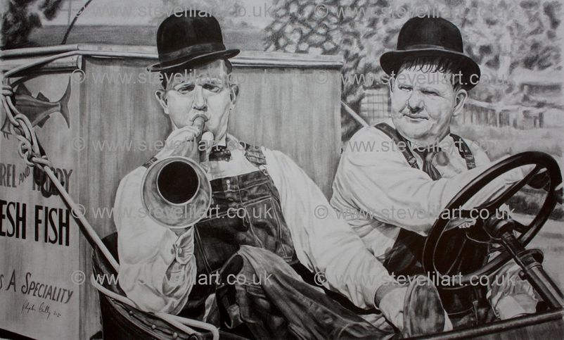 Laurel and hardy, towed in a hole artwork by Steve Lilly, stevelilart