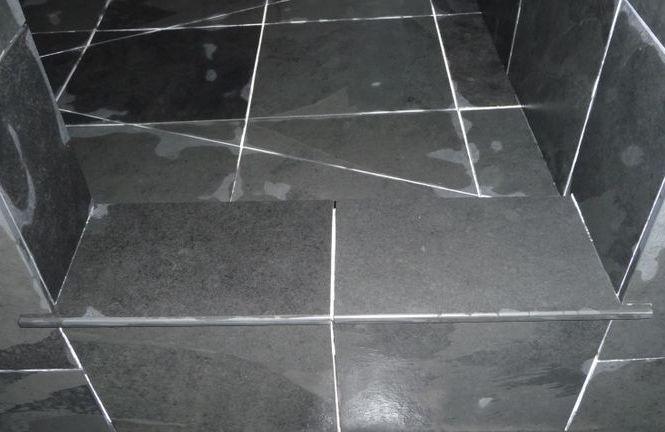 Slate bullnose shower curb