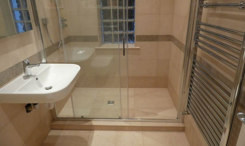 Limestone wet room installed