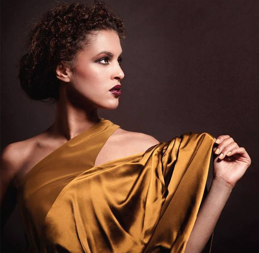 Asymetrical bronze silk gown