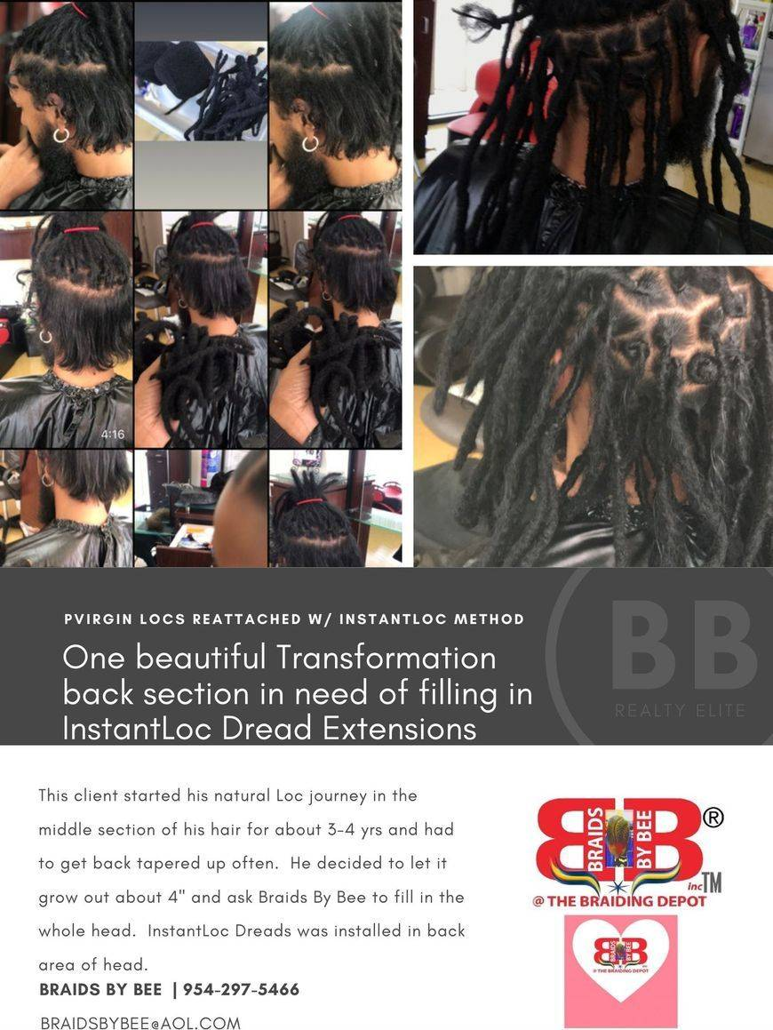 Braids By Bee repairs all dreadlock situations, some clients want o grow out the back of the head or front of hair line,  Bee creates grids and replaces dreadlocks in that area to match the rest on top.  Dread extensions called InstantLoc Dreads
