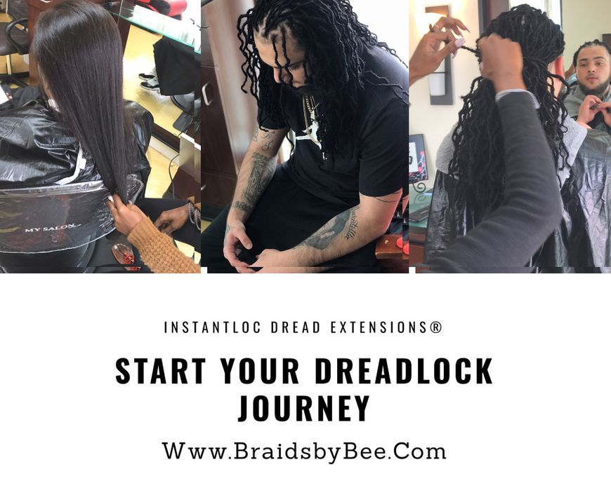 Dreadlocks started with Permanent Instantloc Dread extensions made with human hair from hand by Bee